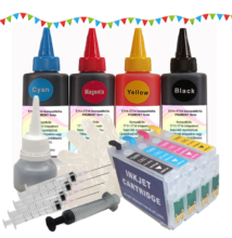 T0711-714 kompatibilis újratölthető tintapatron csomag (pigmentes tintával)