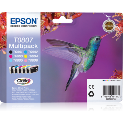 Epson T0807 multipack (Bk, Y, C, M, LC, LM) (Eredeti)