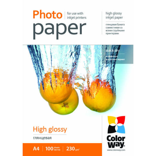 Fotópapír ColorWay PrintPro high glossy 230 g/m², A4, 100 lap PG230100A4