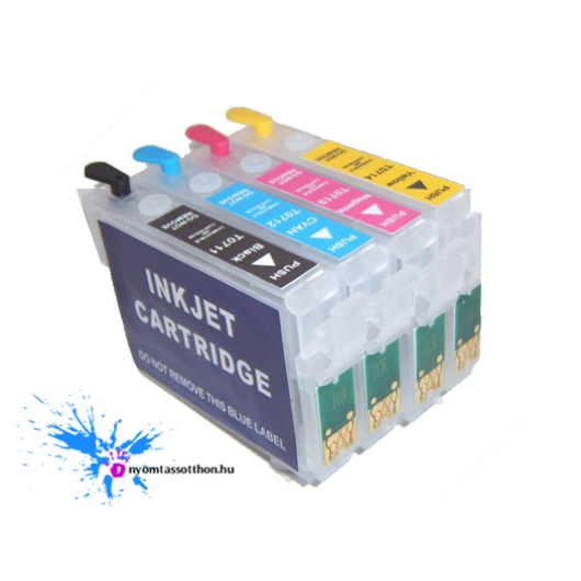 Epson T0711-714 kompatibilis újratölthető tintapatron szett (tintával töltve)