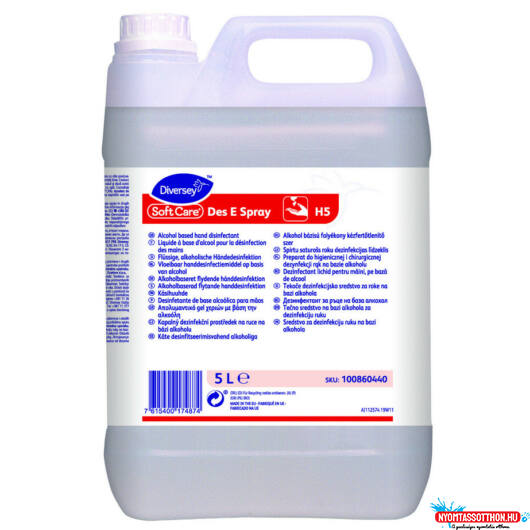 Soft Care DES E folyékony kézfertőtlenítő, alkoholos, 5L
