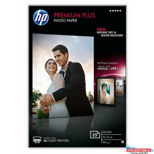 HP 10x15 Premium Plus Fényes Fotópapír 25lap 300g (Eredeti)
