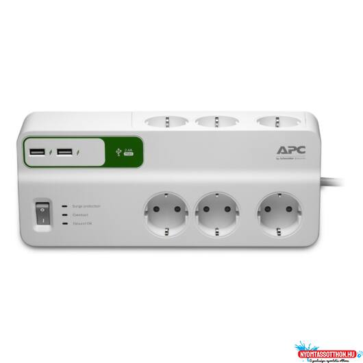 APC Essential SurgeArrest 6 outlets with 5V, 2.4A 2 port USB charger, 230V Germany